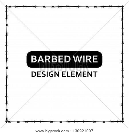 Vector black barbed wire frame on white backround