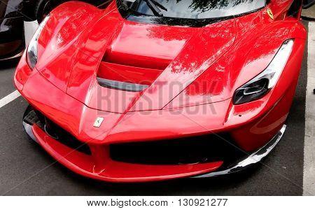 LONDON, UK - JULY 27, 2015: Ferrari La Ferrari project name, F150 seen in the street
