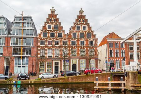 Haarlem, Netherlands - April 2, 2016: Picturesque landscape with beautiful traditional houses,  Haarlem, Holland