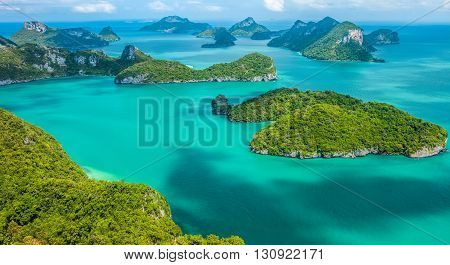 Tropical group of islands in Ang Thong National Marine Park Thailand. Top view