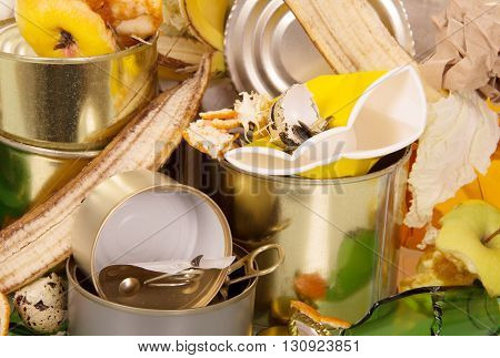 A pile of waste food and household closeup. Background.