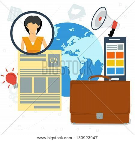 Vector concept resume. Woman icon with resume paper, business bag and smartphone in flat style. On globe background for your design. Writing a resume.  CV