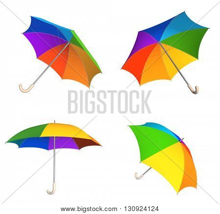 Collection of rainbow umbrellas. View from different angles. Objects isolated on white background. 3d render