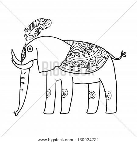 Maharaja Garden elephant for coloring. Adult coloring page.