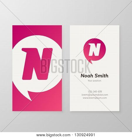 Modern letter N in speech bubble Business card template. Vector business personal card design. Layered editable.