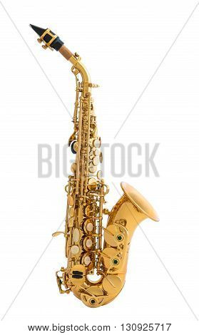 Golden Saxophone. Classical Music Wind Instrument Isolated on White Background