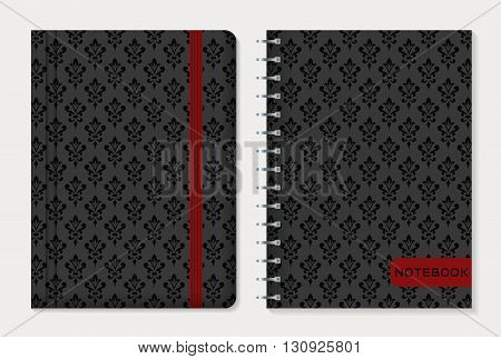 Notebook cover design. Notepad with elastic band and spiral notebook with black damask patterns. Vintage style collection. Vector set.