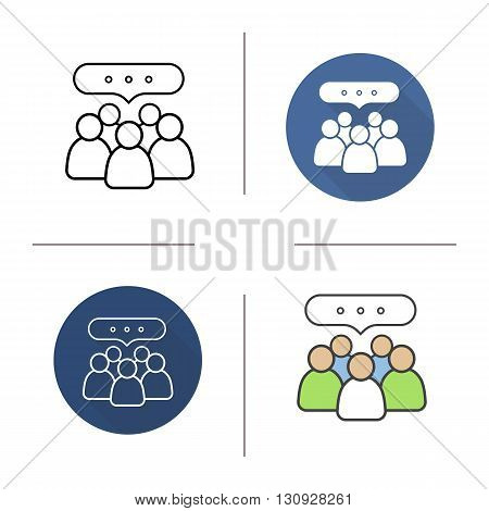 Conference flat design, linear and color icons set. Business teamwork. Meeting. Contour and long shadow symbols. Conference logo concepts. Isolated vector illustrations. Infographic elements