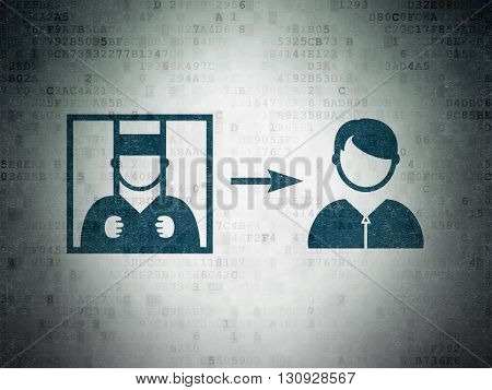 Law concept: Painted blue Criminal Freed icon on Digital Data Paper background