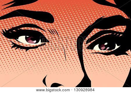 Brown eyes retro woman pop art pop art retro vector. Makeup and cosmetics. Look retro woman. Brown eyes illustration