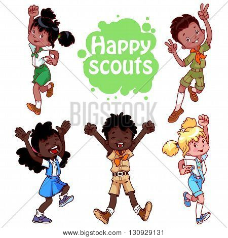 Set of happy african american kids. Boys and girls scouts. Vector cartoon characters isolated on a white background.