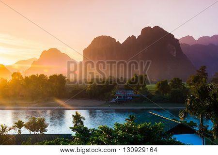 Sunset at Song river Vang Vieng Laos