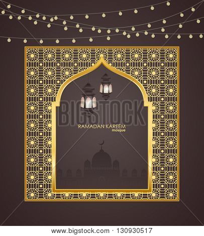 Ramadan Kareem celebrations. Ramadan greetings background. Islamic holy month of prayers. vector holiday illustration of gold Ramadan Kareem label. Composition muslim holy month with mosque and fanus