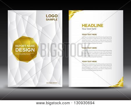 White Cover Annual report template polygon background brochure design cover template flyer design
