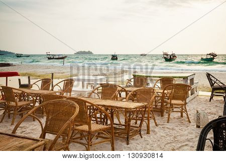 Summer seascape on tropical island Koh Rong in Cambodia. Landscape from beach restaurant.