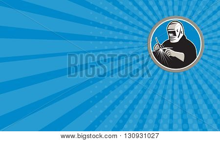 Business card showing illustration of a tungsten inert gas tig welder with welding torch welding set inside circle on isolated background done in retro style.