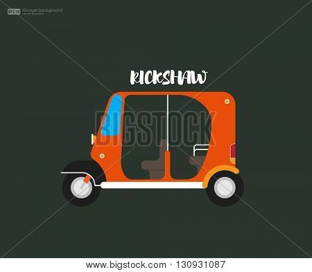 Rickshaw flat design. Indian rickshaw. Auto rickshaw and pedicab. Travel transport taxi, tourism and vehicle. Taxi auto rickshaw tuk tuk three wheeler tricycle. Vector illustration.