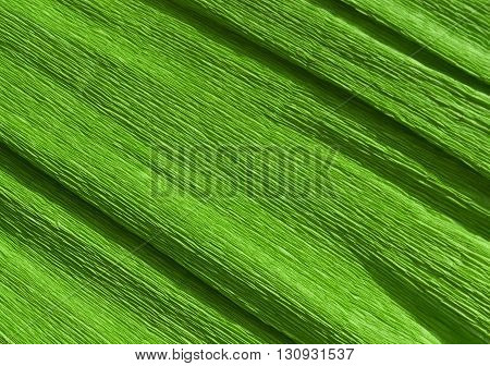 Green Color Crepe Paper Texture.