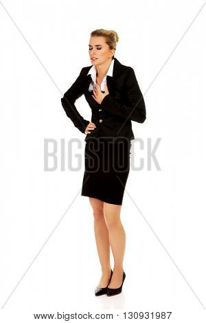 Young beautiful business woman with heartache