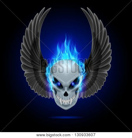 Mutant skull with long fangs blue flame and raised wings