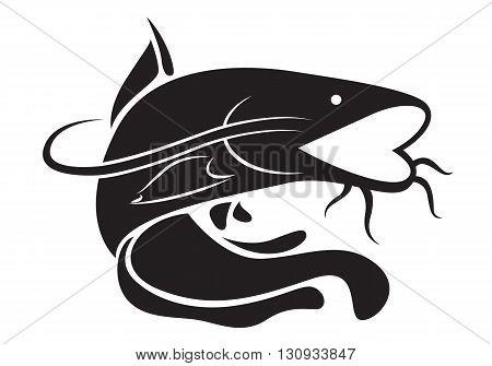 clip art black catfish on white background