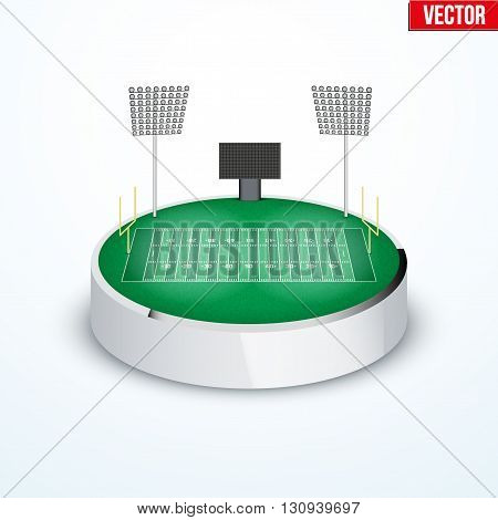 Concept of miniature round tabletop American football stadium. In three-dimensional space. Vector illustration isolated on background.