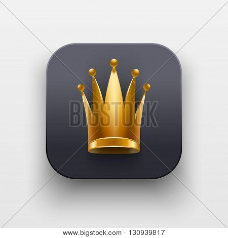 Queen icon. Luxury Symbol of Crown on dark backdrop with shadow. Vector Illustration Isolated on background