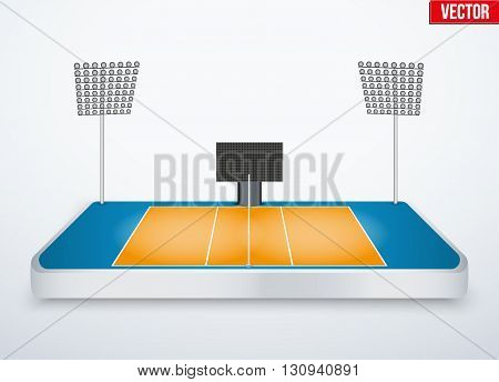 Concept of miniature tabletop volleyball arena. In three-dimensional space. Vector illustration isolated on background.