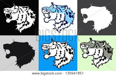 The growling snow leopard irbis in a profile - set of six colors variants