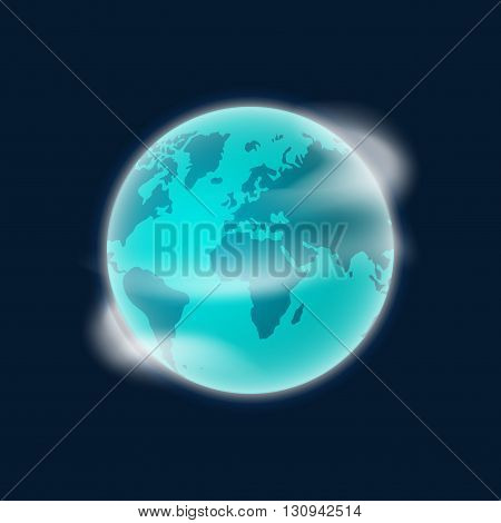 Earth planet vector illustration isolated on dark blue background, smooth earth globe with white clouds in space design, rotating color earth icon