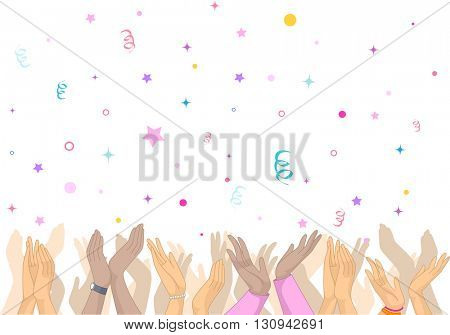 Illustration Featuring an Overjoyed Crowd Clapping as Confetti Rain on Them