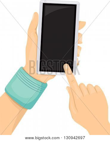 Illustration of a Teen Using His Mobile Phone