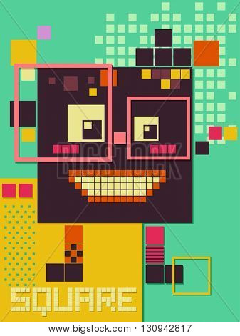 Illustration of Robot Made from Square Blocks