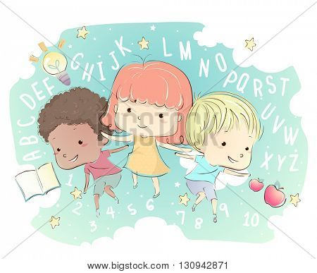 Whimsical Illustration of Kids Surrounded by Letters and Numbers