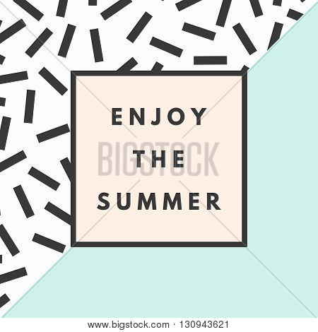 Summer hipster boho chic background with memphis geometric texture. Minimal printable journaling card, creative card, art print, minimal label design for banner, poster, flyer.