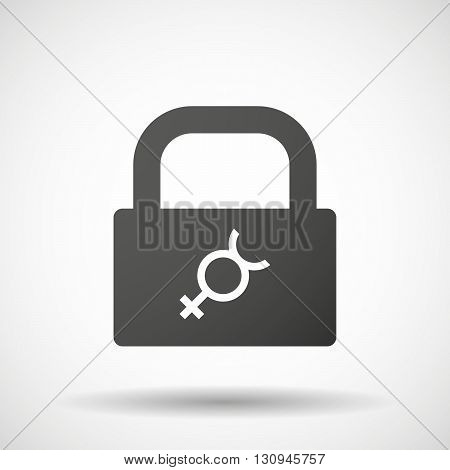Isolated Lock Pad Icon With  The Mercury Planet Symbol