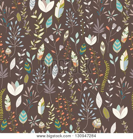 Seamless pattern design with hand drawn flowers floral elements and feathers vector illustration