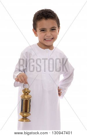 Happy Young Boy With Fanoos Celebrating Ramadan