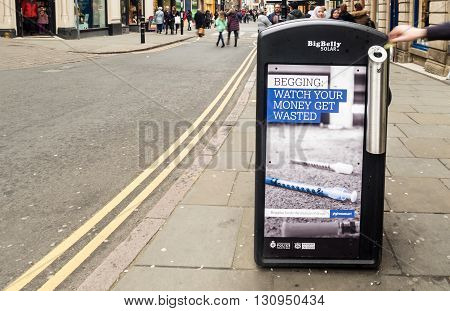 NOTTINGHAM ENGLAND - MARCH 26: Controversial anti begging adverts by Nottingham City Council (Labour) in conjunction with Nottinghamshire Police. Nottingham England. On 26th March 2016.