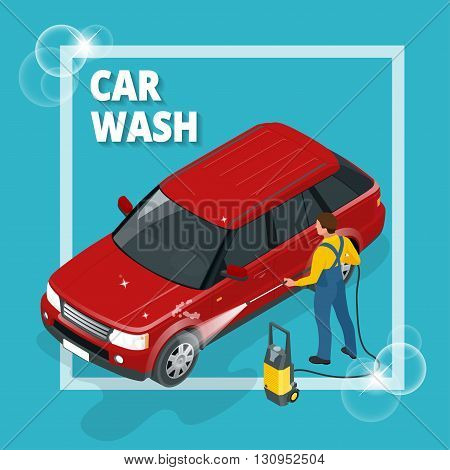 Business concept car wash. Car wash, auto cleaner, washer shower service banner. Flat 3d vector isometric illustration