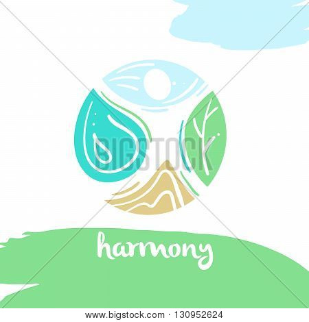 Logo harmony four nature element high mountain blue sky clean water green tree. Illustration for eco-friendly technologies and clean energy environmental organization.