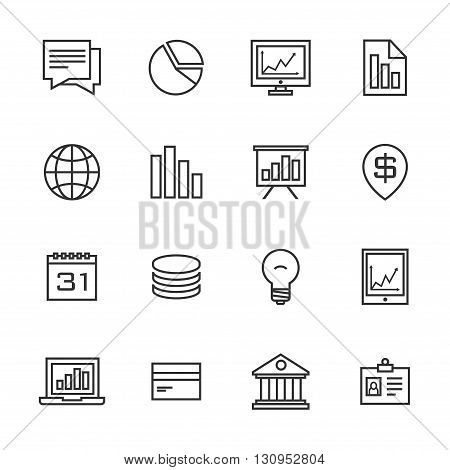 bussines strategy black line icons set 16