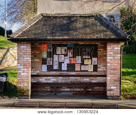 WYMESWOLD ENGLAND - JANUARY 15: A brick built bus shelter. In Wymeswold England on 15th January 2016.