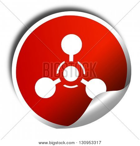 Chemical weapon sign, 3D rendering, red sticker with white text