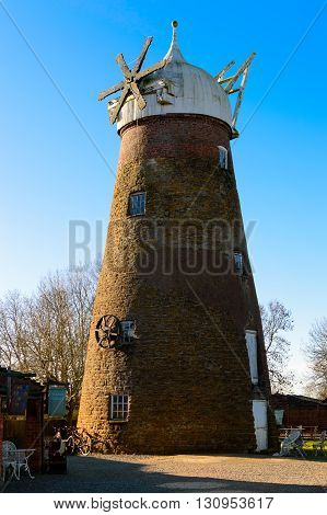 WYMONDHAM ENGLAND - JANUARY 15: Wymondham windmill wide view. In Wymondham England on 15th January 2016.