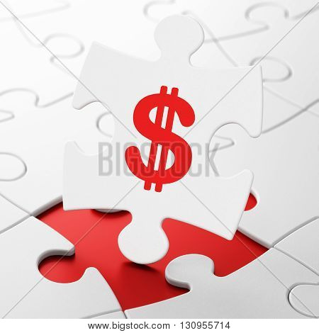 Money concept: Dollar on White puzzle pieces background, 3D rendering