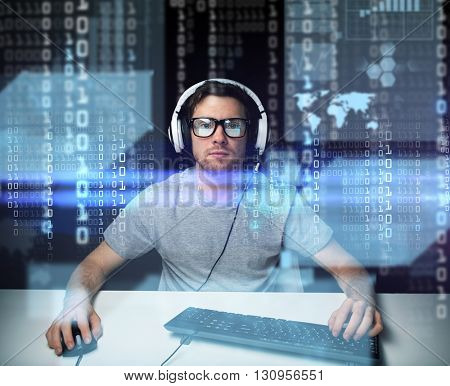 technology, cyberspace, virtual reality and people concept - man or hacker in headset and eyeglasses with keyboard hacking computer system or programming over binary code projection