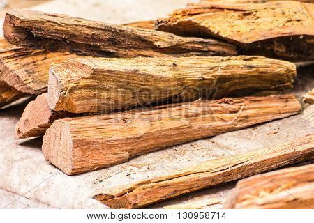The logs of fire wood in thai market