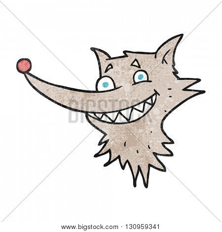 freehand textured cartoon grinning wolf face