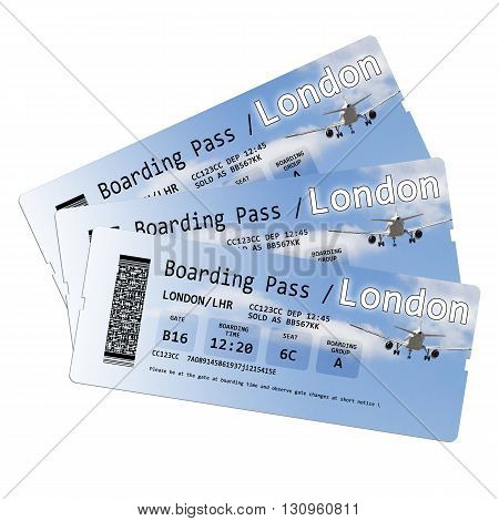 Airline boarding pass tickets to London isolated on white. Each element of the ticket is invented. Every symbol every code every ID number are invented. Other words such as